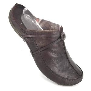 CLARKS ARTISAN BROWN LEATHER MULES LUXE COMFORT